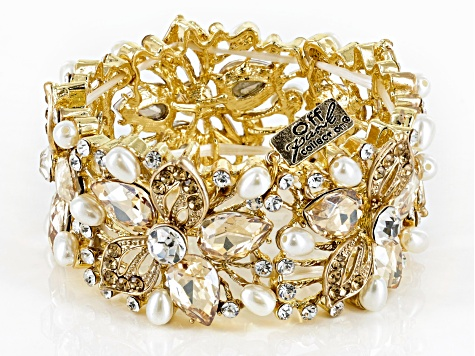 Pre-Owned Multicolor Crystal Gold Tone Floral Statement Bracelet