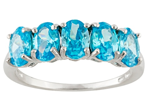 Pre-Owned Blue Cubic Zirconia Rhodium Over Sterling Silver Ring 3.65ctw