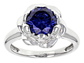 Pre-Owned Blue Cubic Zirconia Rhodium Over Sterling Silver Ring 3.46ctw