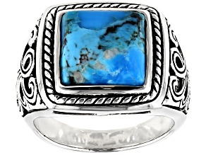 Pre-Owned Blue Turquoise Rhodium Over Silver Mens Ring