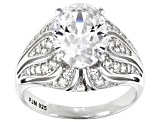 Pre-Owned White Cubic Zirconia Rhodium Over Sterling Silver Ring 5.65ctw