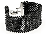 Pre-Owned Black Spinel Rhodium Over Sterling Silver Bracelet Approximately 80.00ctw