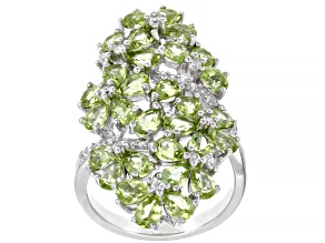 Pre-Owned Green peridot rhodium over sterling silver ring 4.54ctw