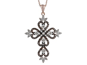 Pre-Owned Champagne And White Diamond 14k Rose Gold Over Sterling Silver Pendant 1.00ctw