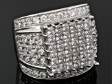 Pre-Owned 6.79ctw Princess Cut & Round Cubic Zirconia Rhodium Plated Sterling Silver Ring