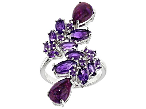 Pre-Owned Purple turquoise rhodium over silver ring 2.39ctw
