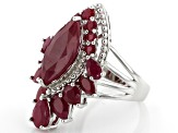 Pre-Owned Red Ruby Rhodium Over Silver Ring 8.68ctw
