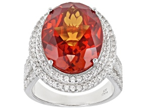 Pre-Owned Orange Lab Padparadscha Sapphire Rhodium Over Sterling Silver Ring 15.50ctw