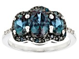 Pre-Owned Blue Lab Created Alexandrite Rhodium Over Silver Ring 2.26ctw