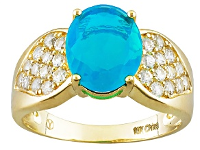 Pre-Owned Blue Ethiopian Opal 10k Yellow Gold Ring 2.69ctw