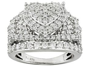 Pre-Owned Cubic Zirconia Rhodium Over Sterling Silver Heart Ring 4.35ctw