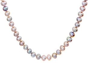 Pre-Owned 9-10mm Lavender Cultured Freshwater Pearl Rhodium Over Sterling Silver 22 Inch Strand Neck