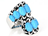 Pre-Owned Sleeping Beauty Turquoise Rhodium Over Sterling Silver Bypass Ring