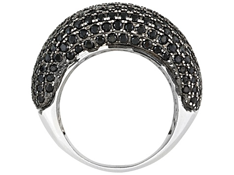 Pre-Owned Black Spinel Rhodium Over Sterling Silver Band Ring 3.57ctw