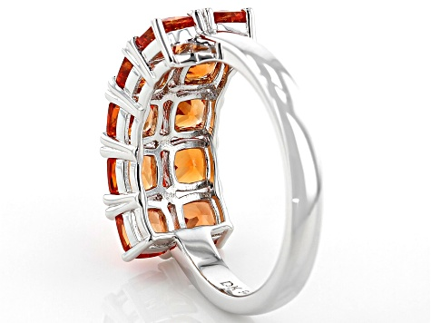 Pre-Owned Orange lab created padparadscha sapphire rhodium over silver band ring 3.06ctw