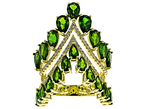 Pre-Owned Green Chrome Diopside 18k Yellow Gold Over Sterling Silver Ring 6.64ctw