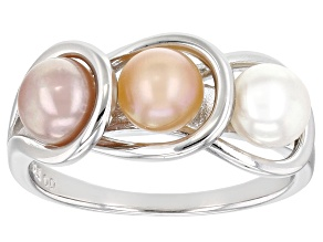 Pre-Owned White, Pink, And Peach Cultured Freshwater Pearl Rhodium Over Sterling Silver Ring 5mm