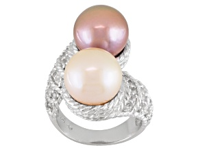 Pre-Owned Pink And Champagne Cultured Freshwater Pearl, White Topaz Silver Ring