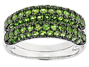 Pre-Owned Green Chrome Diopside Rhodium Over Silver Set of 2 Rings 2.11ctw