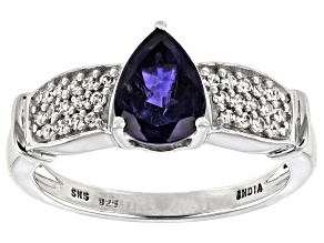 Pre-Owned Iolite Rhodium Over Sterling Silver Ring 1.3ctw