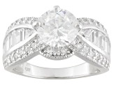 Pre-Owned Cubic Zirconia Rhodium Over Sterling Silver Ring 5.51ctw