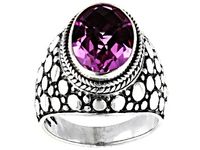 Pre-Owned Kunzite Color Quartz Triplet Silver Solitaire Ring