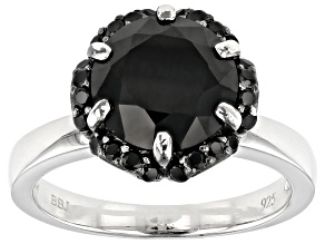 Pre-Owned Black Spinel Rhodium Over Sterling Silver Ring 3.73ctw