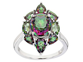 Pre-Owned Multi-color quartz rhodium over sterling silver ring 4.13ctw