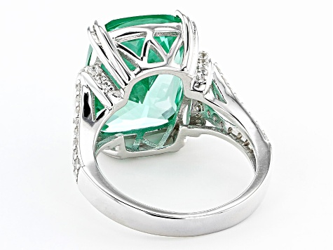 Pre-Owned Green Lab Created Spinel Rhodium Over Silver Ring 9.64ctw