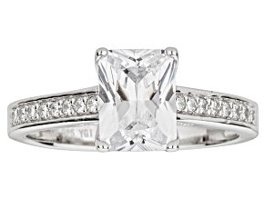Pre-Owned White Cubic Zirconia Radiant Cut Rhodium Over Sterling Silver Engagement Ring 3.40ctw