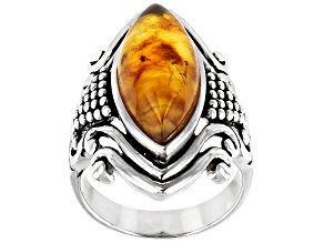 Pre-Owned Orange Amber Rhodium Over Sterling Silver Solitaire Ring