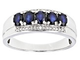 Pre-Owned Blue Sapphire Rhodium Over Sterling Silver ring .94ctw