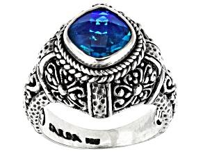 Pre-Owned Rainbow Paraiba Color Caribbean Quartz Triplet Silver Solitaire Ring