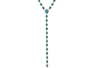 Pre-Owned Blue turquoise rhodium over sterling silver necklace