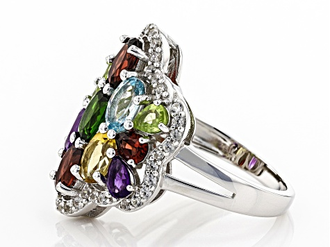 Pre-Owned Multi-Stone Rhodium Over Sterling Silver Ring 4.30ctw