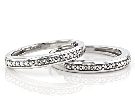 Pre-Owned Diamond Accent Rhodium Over Sterling Silver Set of 2 Band Rings