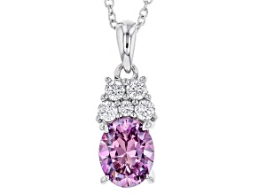 Pre-Owned Swarovski ® Purple Zirconia & White Cubic Zirconia Rhodium Over Silver Pendant With Chain