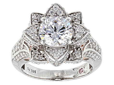 Pre-Owned Cubic Zirconia Silver And 18k Rose Gold Over Silver Ring 5.37ctw (2.05ctw DEW)