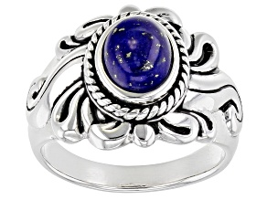Pre-Owned Blue lapis rhodium over sterling silver solitaire ring