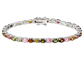Pre-Owned Multi- Tourmaline Rhodium Over Sterling Silver Tennis Bracelet 7.25ctw