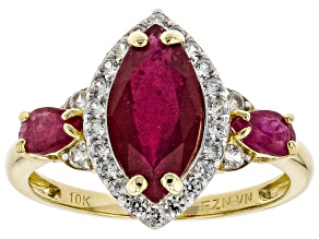Pre-Owned Red Mahaleo® Ruby 10k Yellow Gold Ring 3.28ctw