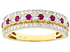Pre-Owned Red Burmese Ruby And White Diamond 14K Yellow Gold Ring 0.69ctw