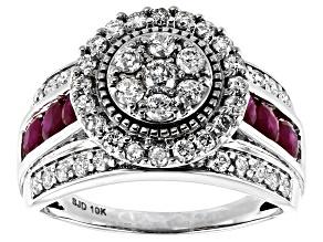 Pre-Owned White Diamond & Red Burmese Ruby 10k White Gold Ring 2.00ctw
