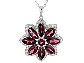 Pre-Owned  Raspberry Color Rhodolite Rhodium Over Sterling Silver Pendant With Chain 5.61ctw