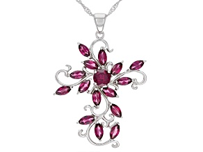 Pre-Owned Raspberry Color Rhodolite Rhodium Over Sterling Silver Pendant With Chain 4.73ctw
