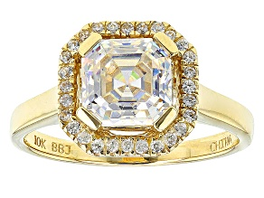 Pre-Owned Fabulite Strontium Titanate And White Zircon 10k Yellow Gold Ring 2.43ctw