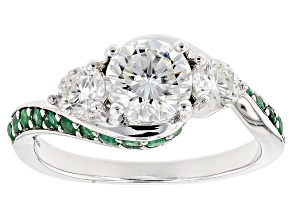 Pre-Owned Moissanite Fire® 1.46ctw DEW Round And .44ctw Round Zambian Emerald Platineve™ Ring
