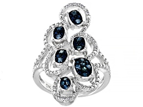 Pre-Owned Blue Diamond Rhodium Over Sterling Silver Ring 0.20ctw