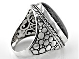 Pre-Owned Black Indonesian Coral Cabochon Silver Solitaire Ring