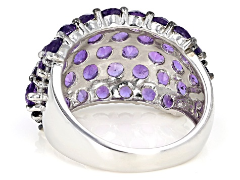 Pre-Owned Purple Amethyst Rhodium Over Silver Band Ring 5.76ctw
